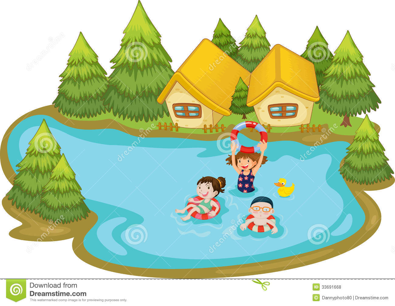 Swimming In A Lake Clipart Kids swimming lake stock illustrations ...