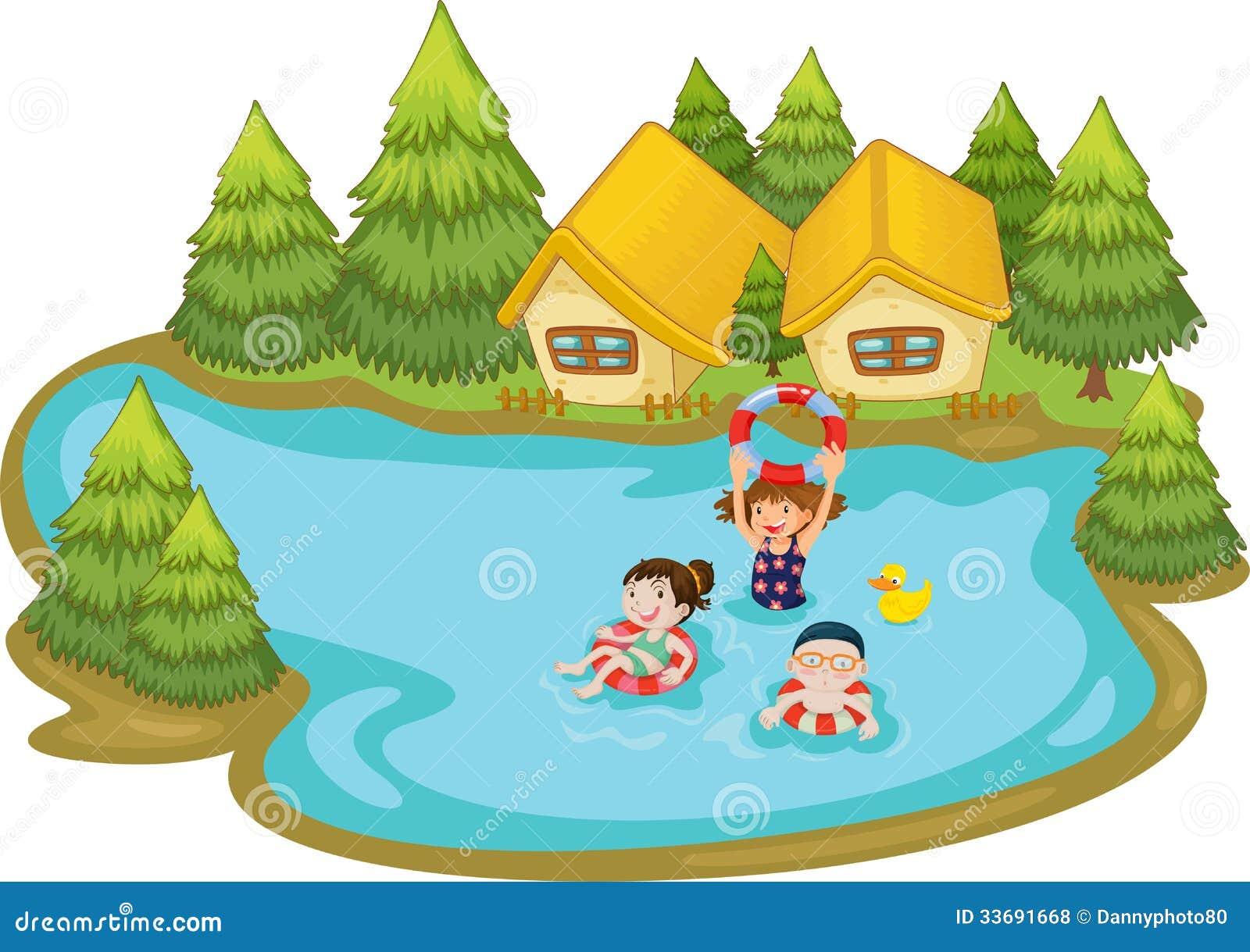 Kids Swimming In A Lake kids swimming lake stock illustrations – 77 kids swimming lake