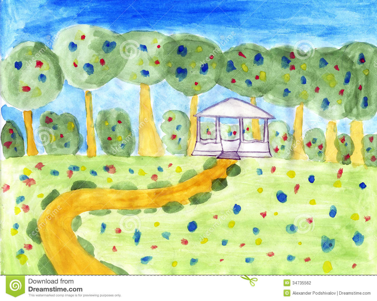 Summer Scenery - Kids Drawing Stock Photo - Image of spring ...