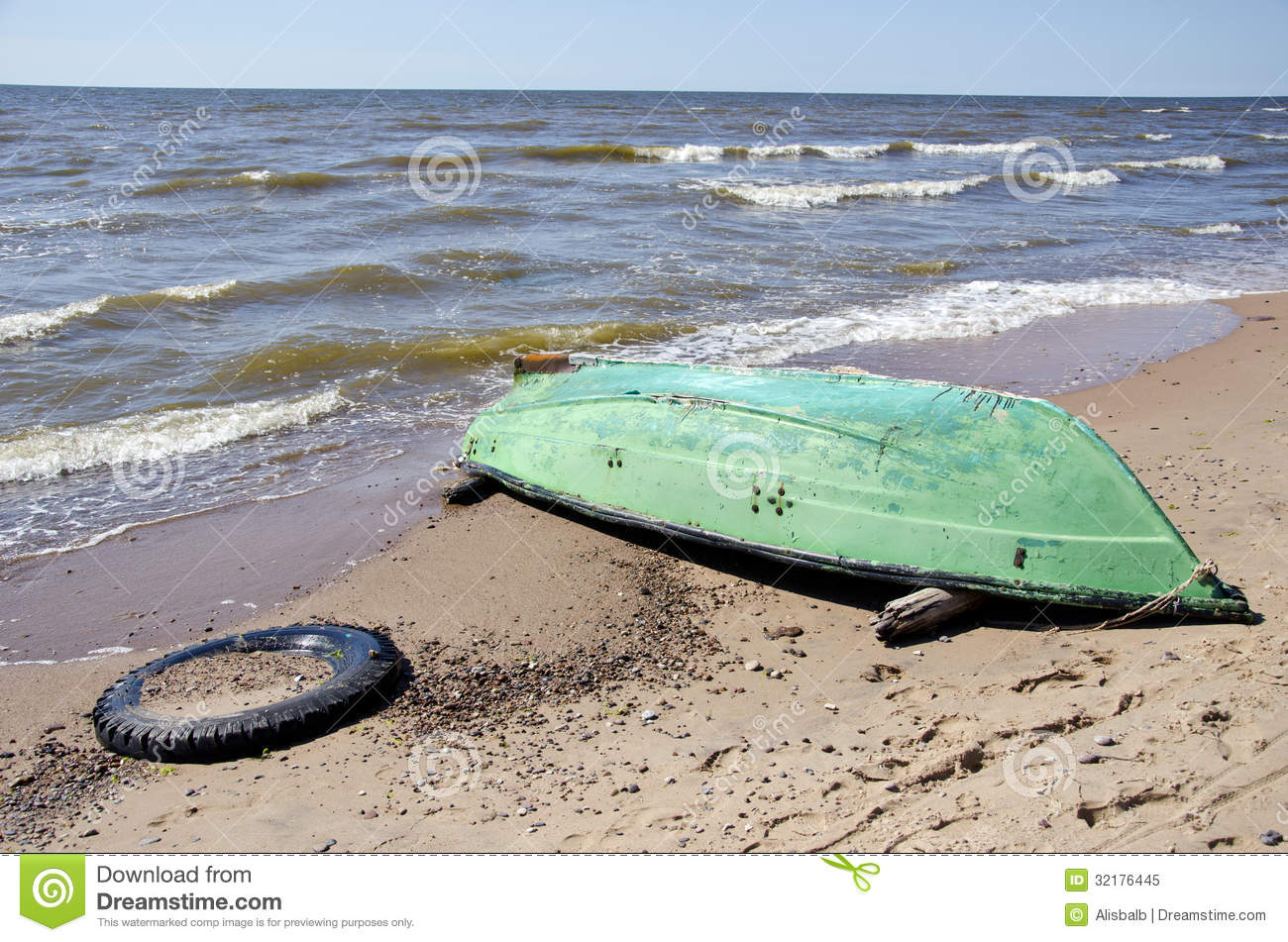 Summer Sea Beach With Green Boat Royalty Free Stock Photo ...
