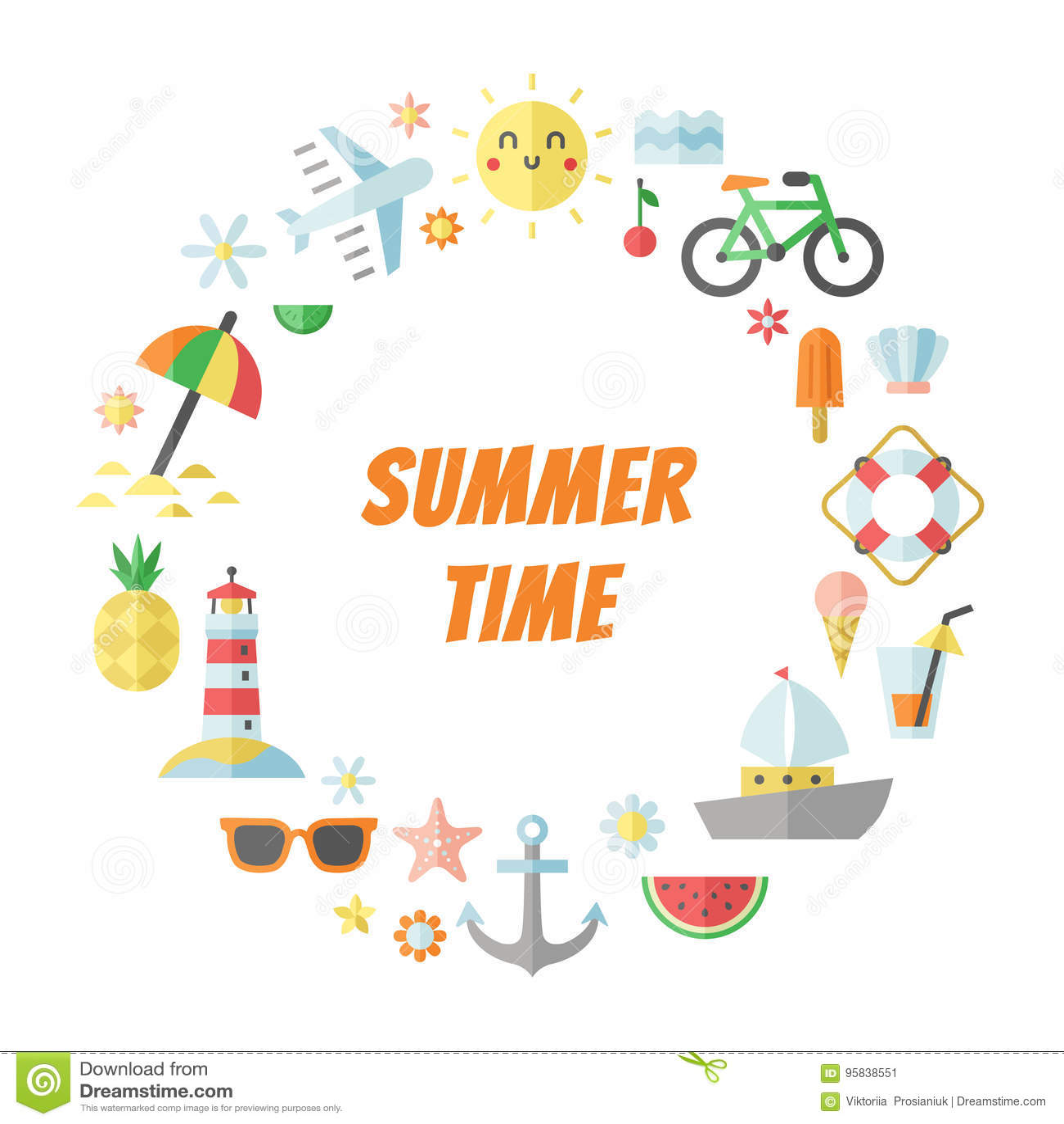 Summer and sea flat circle vector frame.
