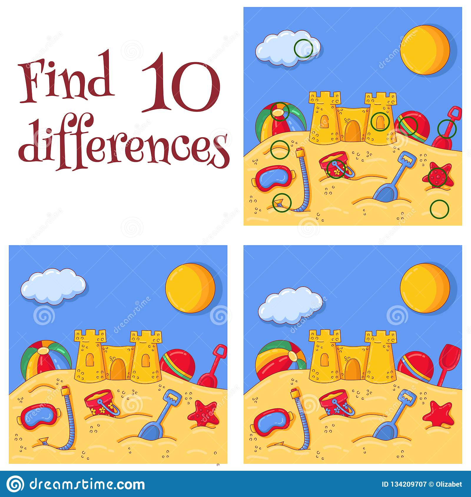 Summer Sea Sand Castle And Toys Find 10 Differences Quiz