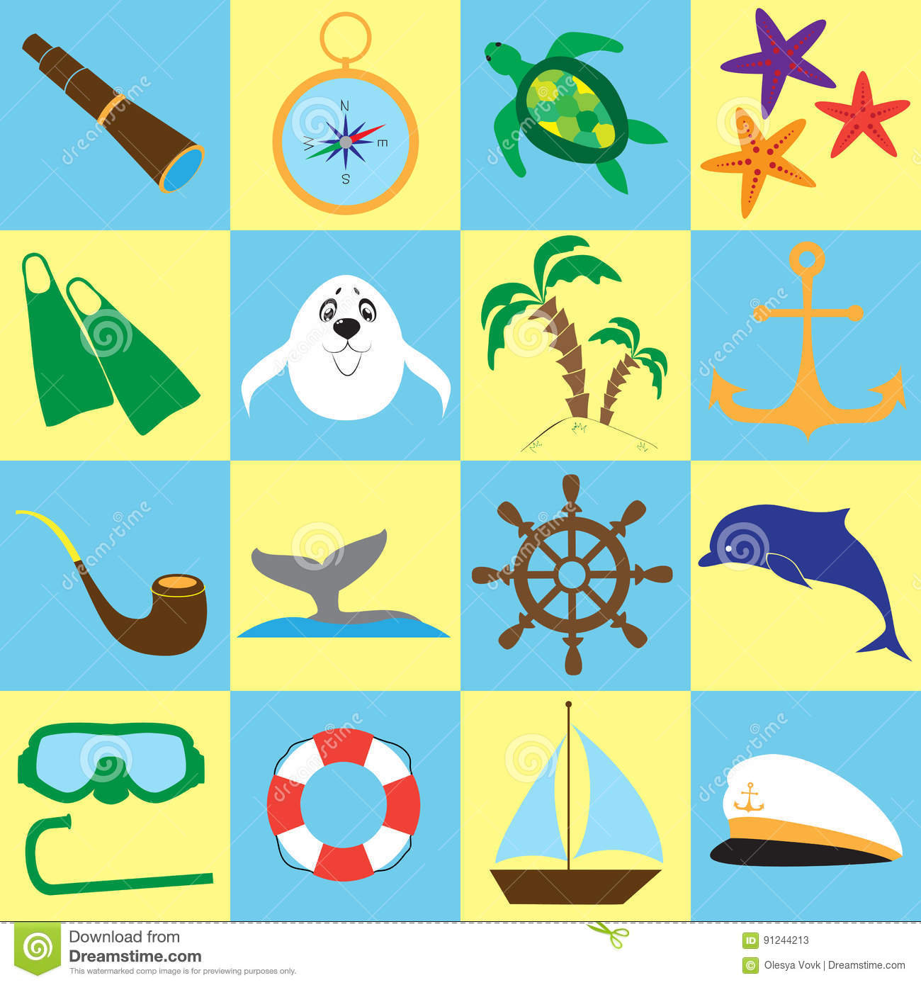 summer sea travel doodle stuff set isolated items on color