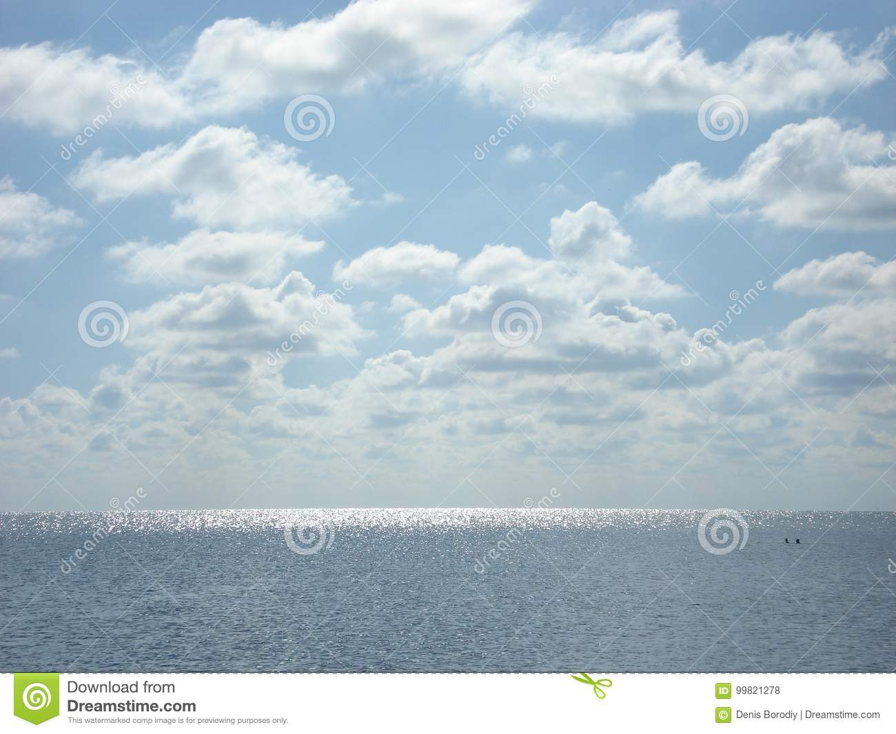 Summer sea under the clouds