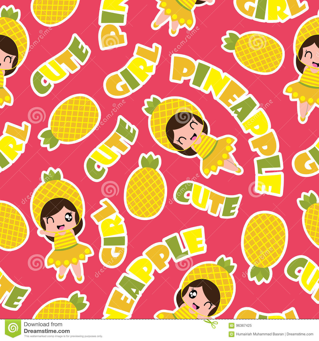 summer seamless pattern with cute pineapple girls on pink background