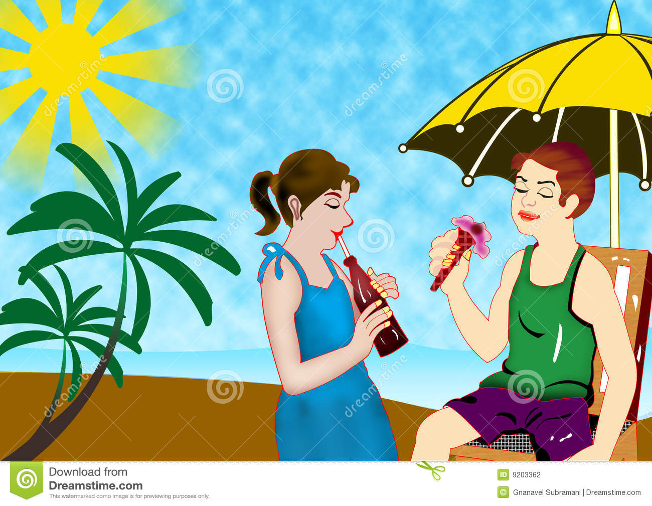 Boy eat ice cream, girl drink a summer vacation under umbrella.