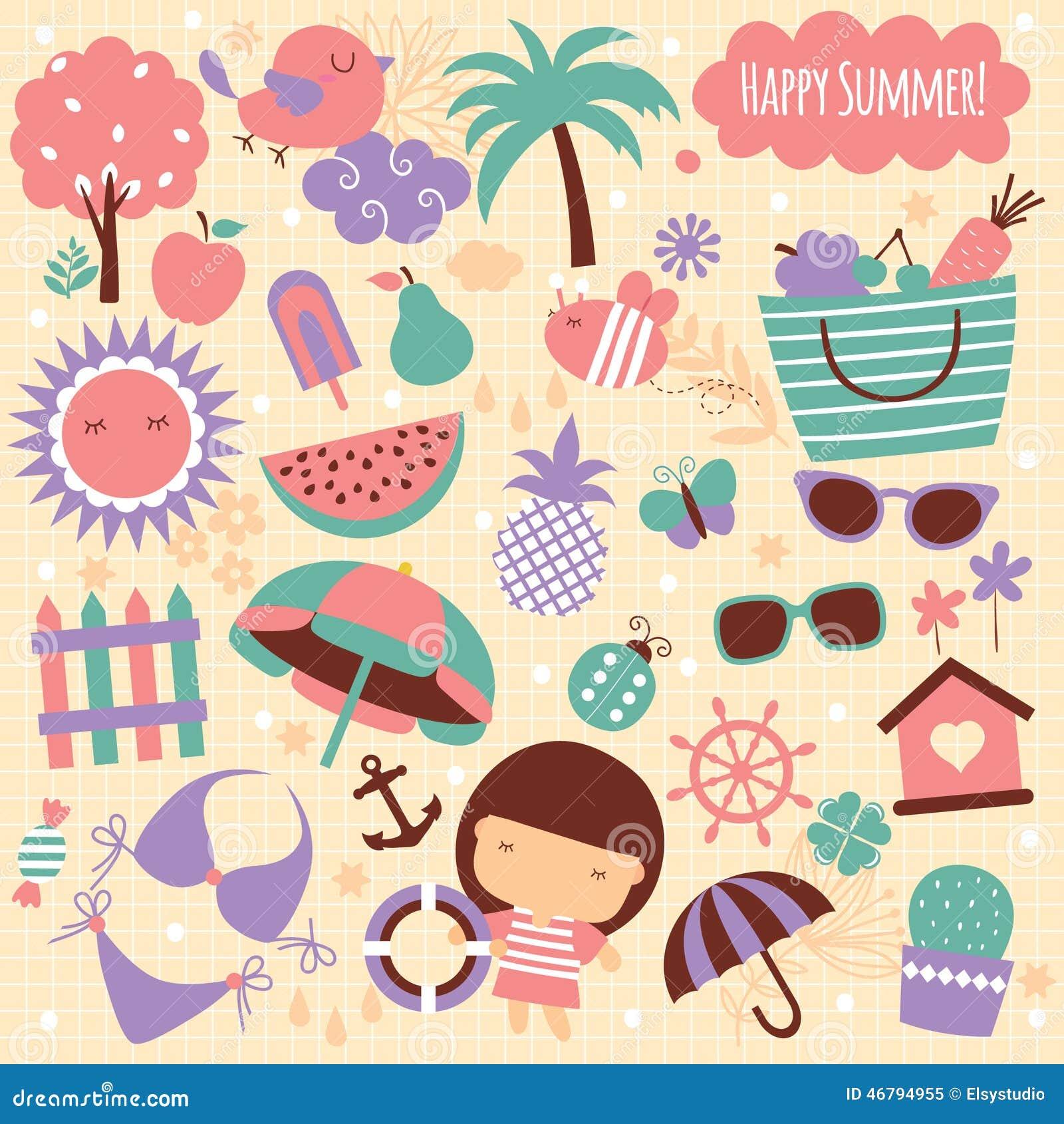 Summer Season Clip Art Elements Stock Illustration ...
