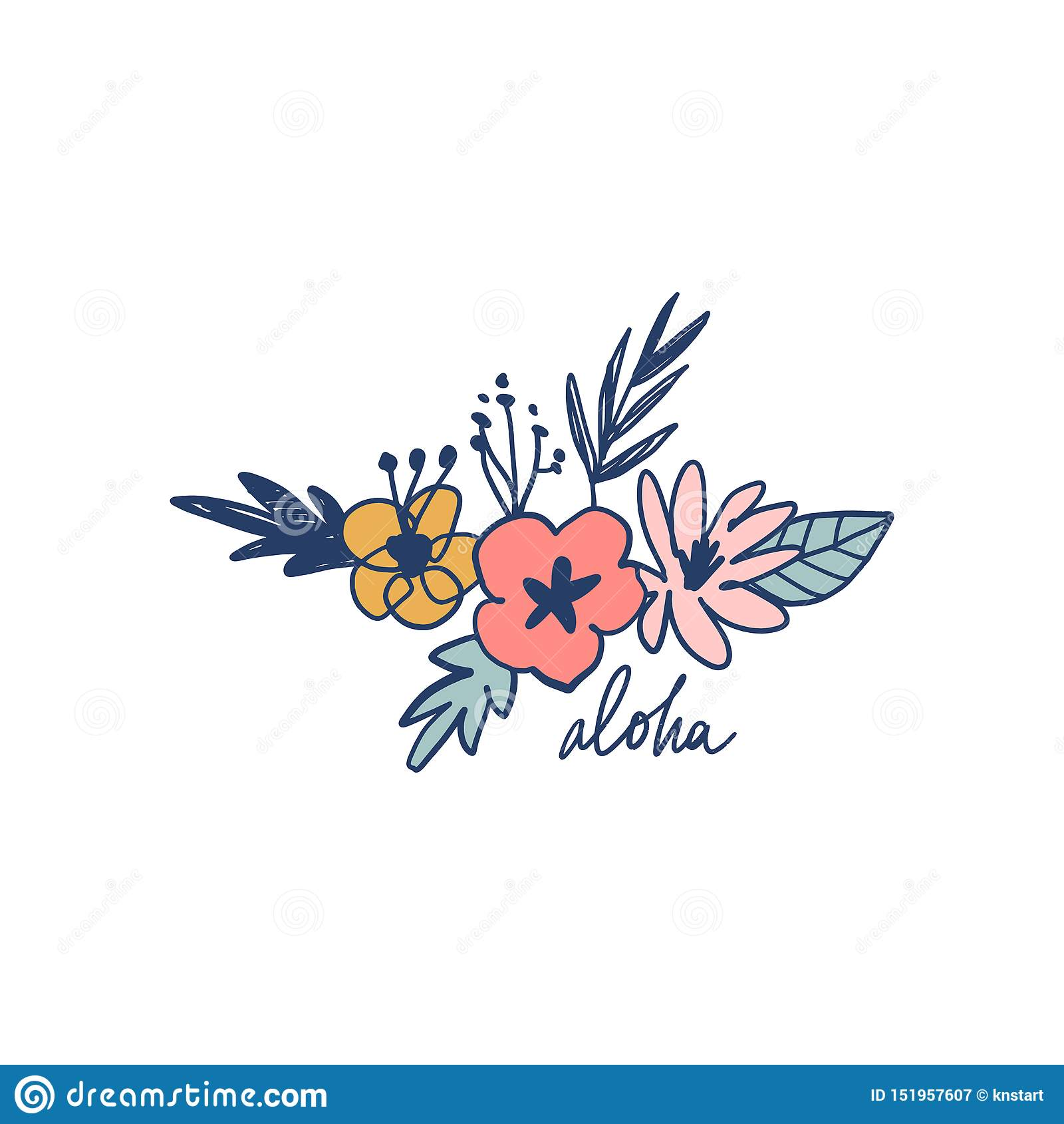 Summer set with hand drawn flowers and tropical leaves. Aloha lettering text. Good for web, posters, invitations. Vector