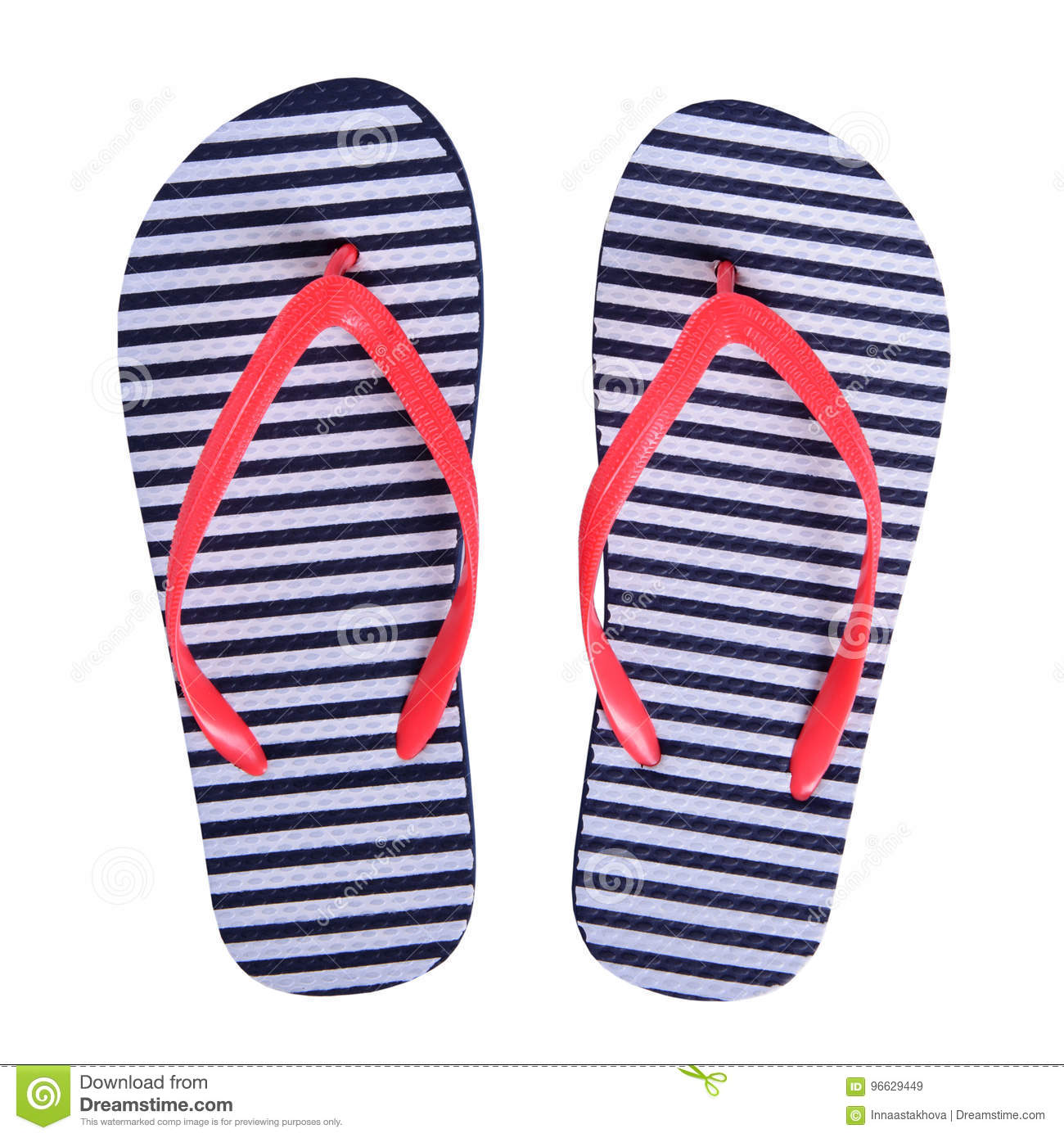Summer shoes rubber flip flops isolated