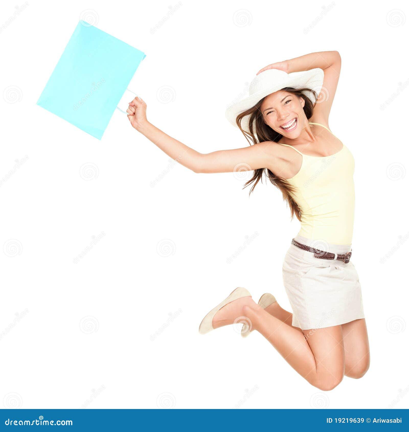 Summer shopping woman jumping