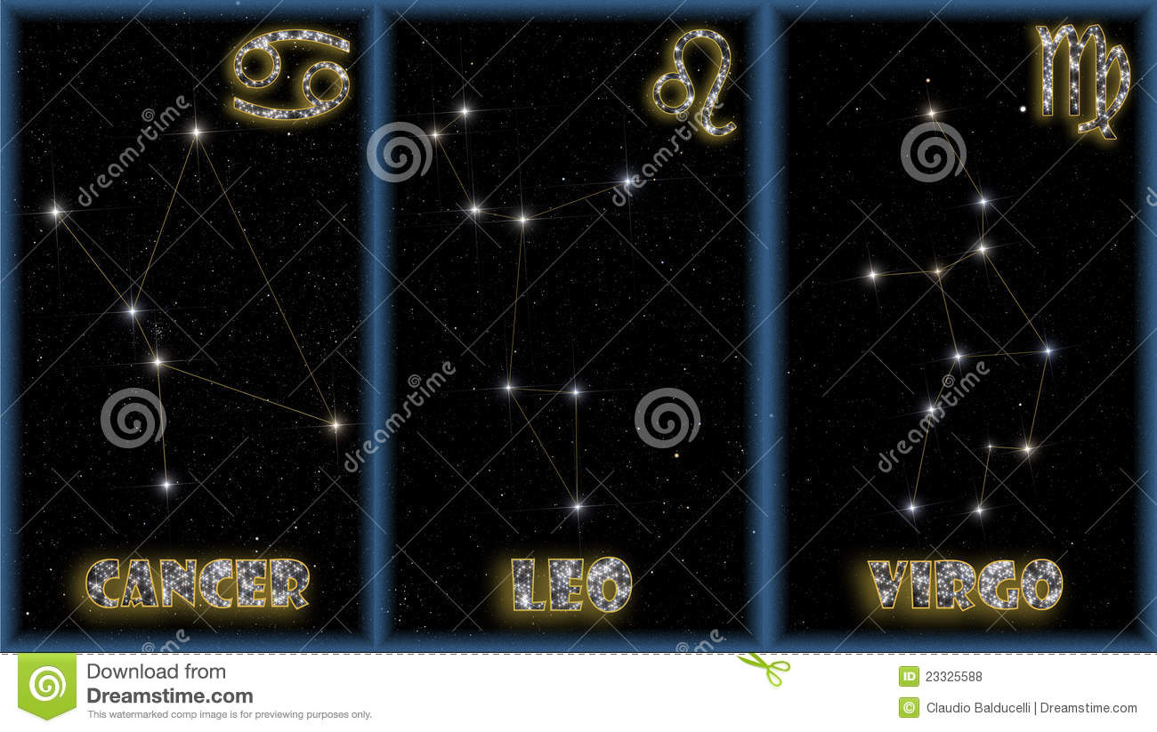 The Summer Signs Of The Zodiac Royalty Free Stock Photos