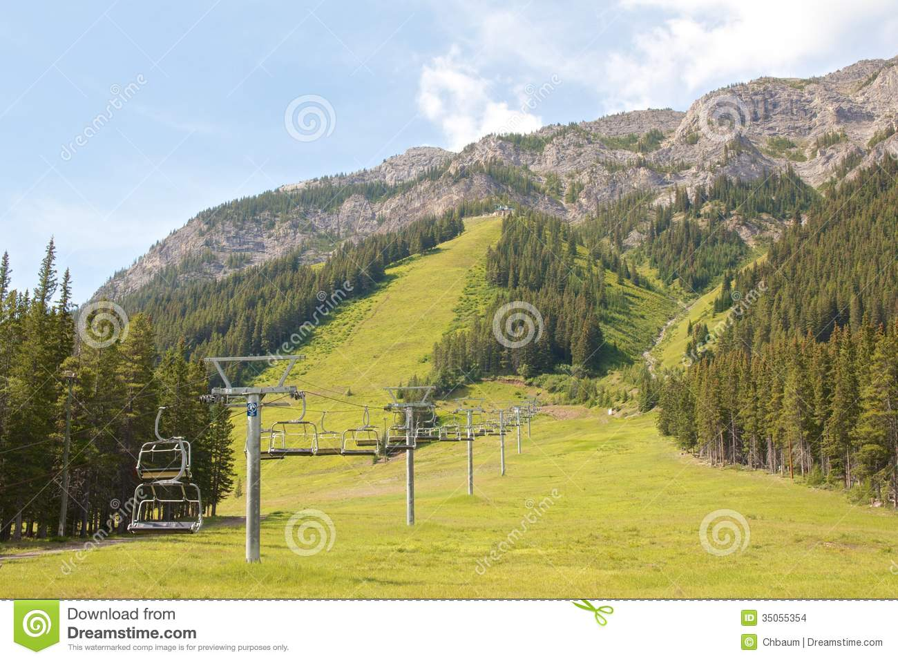 Ski lift in the Canadian Rocky Mountains in summer.
