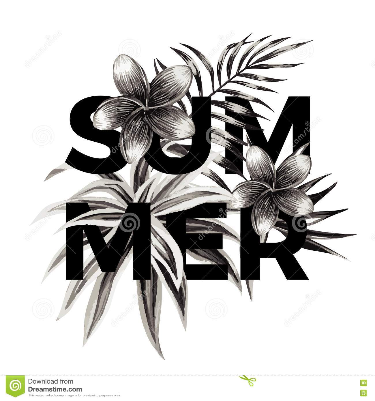 Summer Slogan Black And White Floral Print Stock Vector