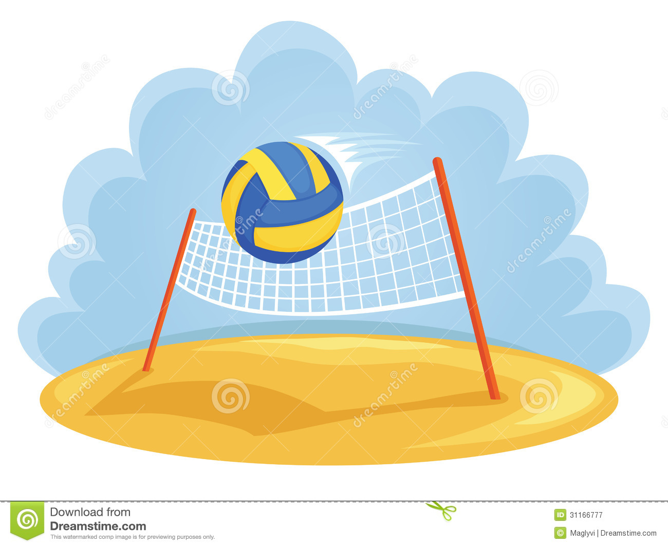 Abstract Design Of A Beach Volleyball Player Vector Image: Summer Sports Stock Vector. Illustration Of Symbol
