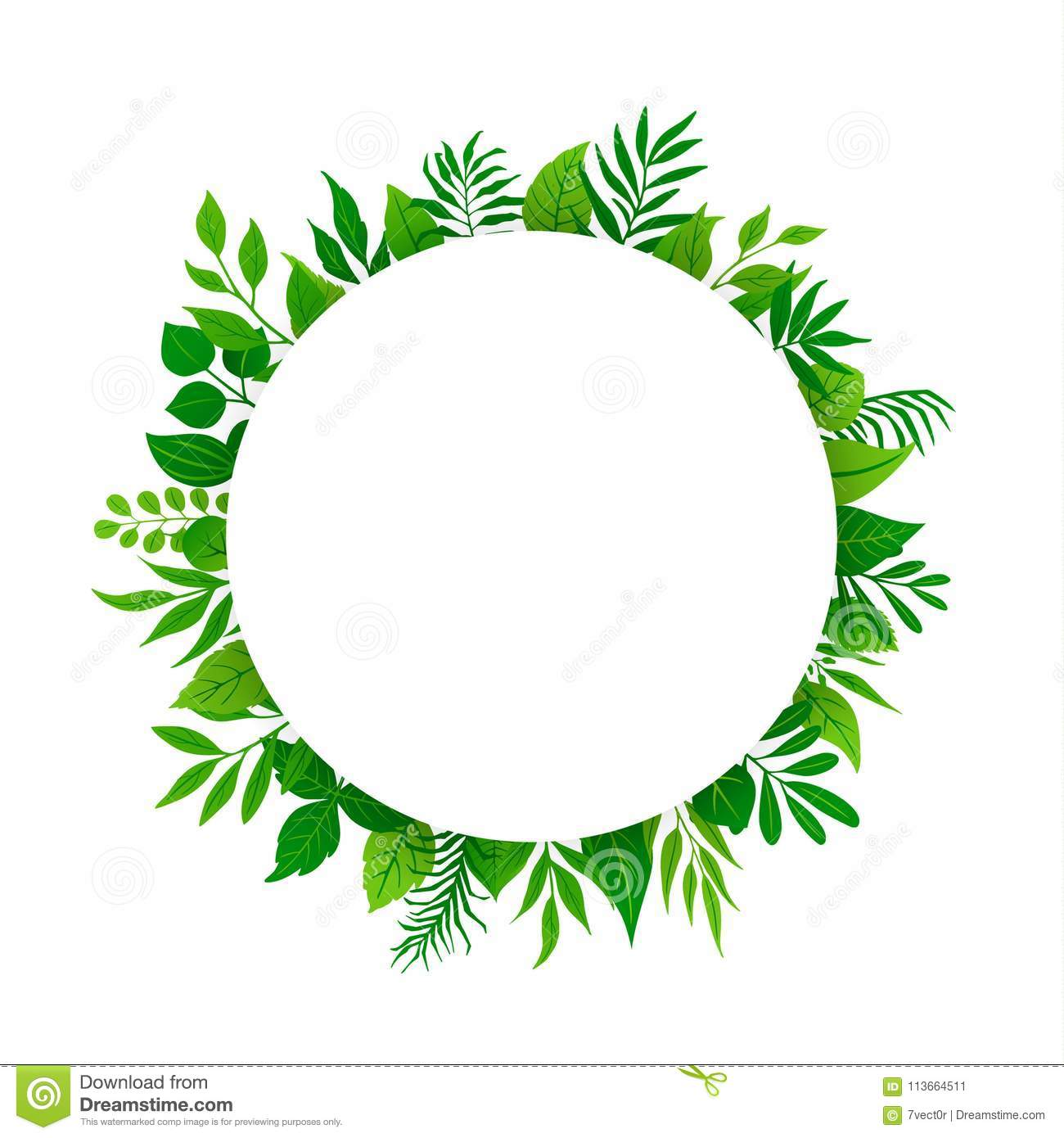 Summer spring green leaves branches twigs plants foliage greenery round circle frame with place for text