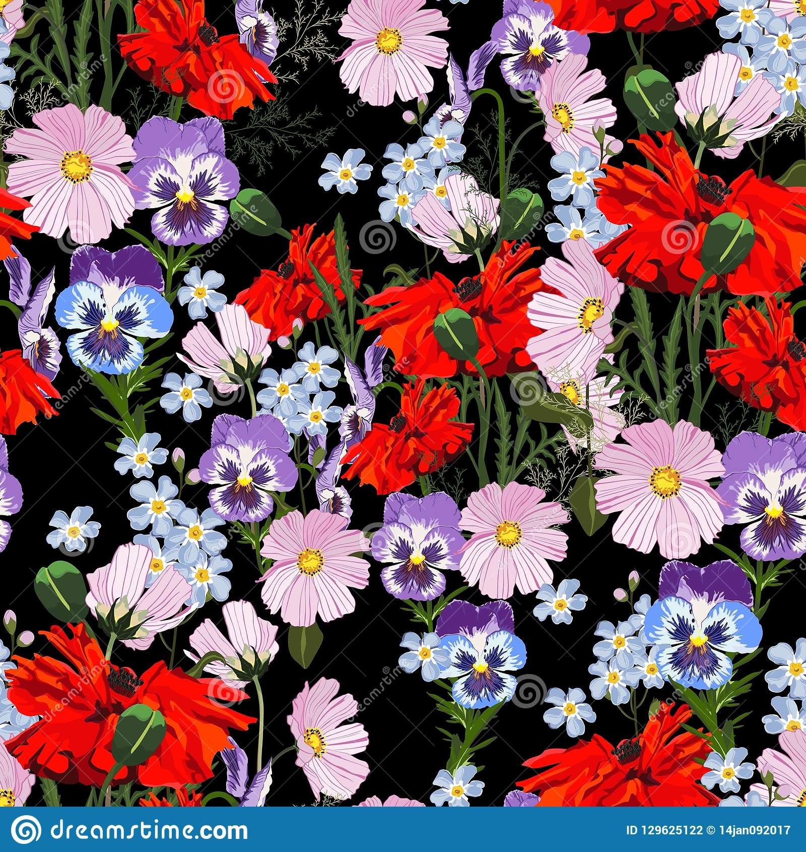 Red, Violet And Dark Blue Flowers Stock Image ...