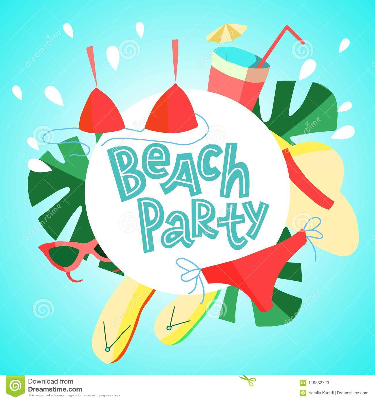 summer square flyer design for promotion beach party with colorful