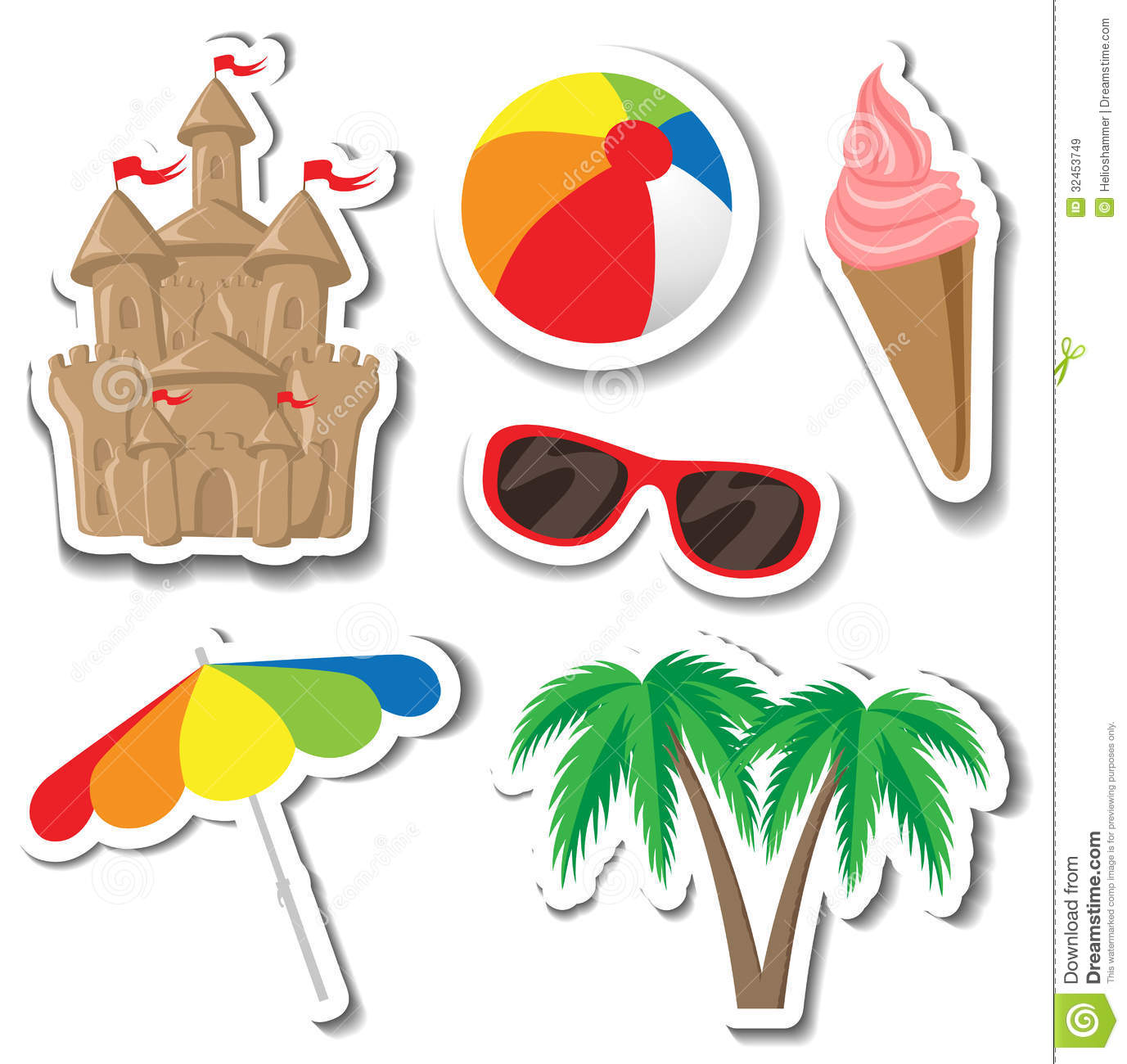 Summer sticker set with sandcastle, palm tree, ice cream, sunglasses ...