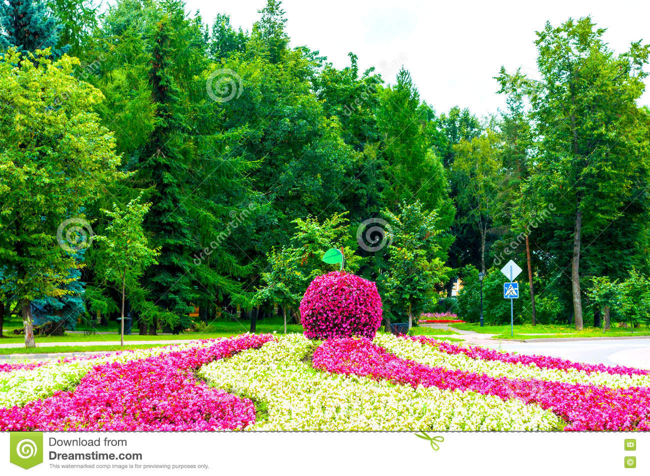 Summer Landscaping summer street landscaping - flowerbed with landscaping element in