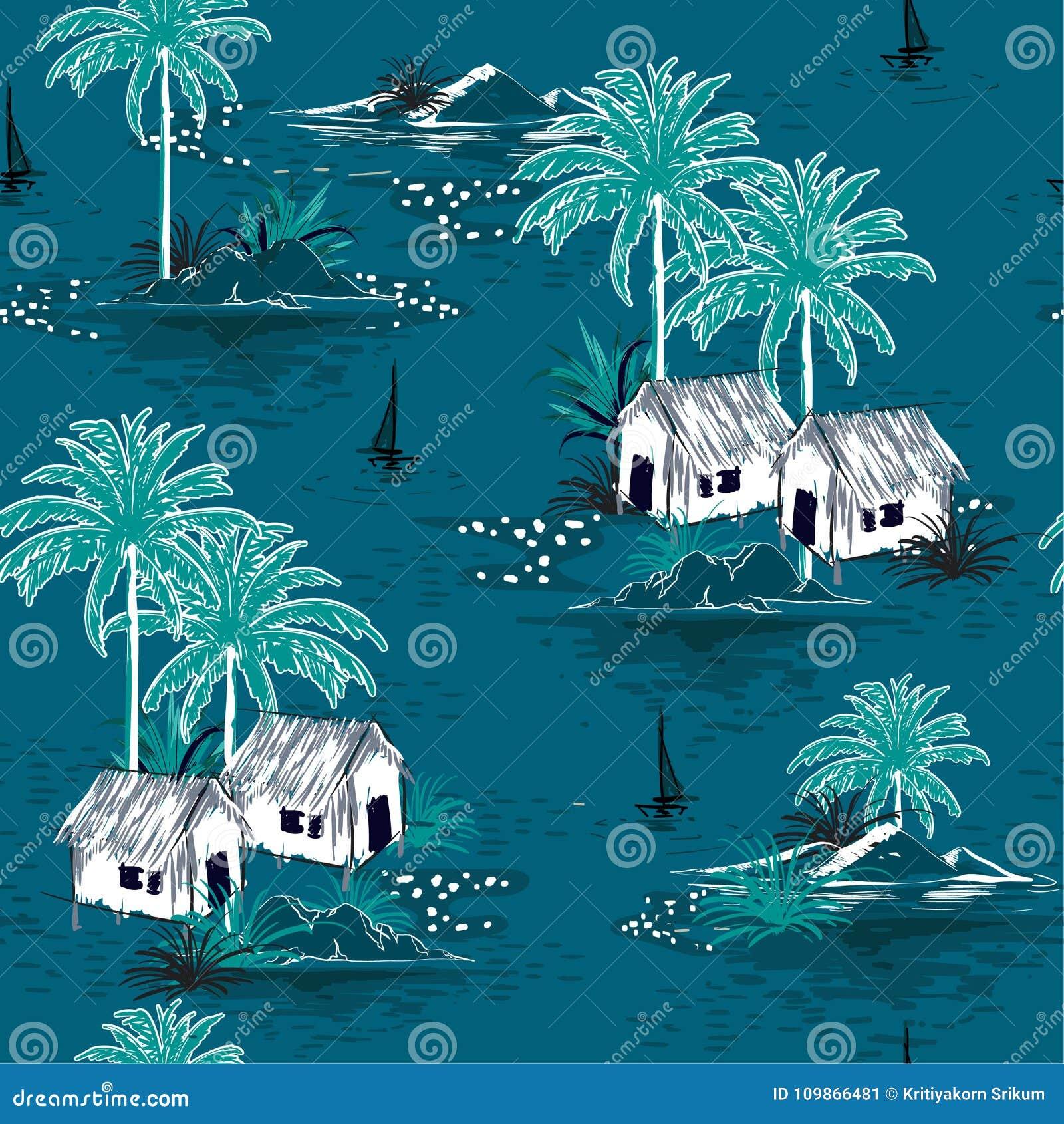 Summer stylish seamless Dark ocean island pattern on blue background. Landscape with palm trees,beach
