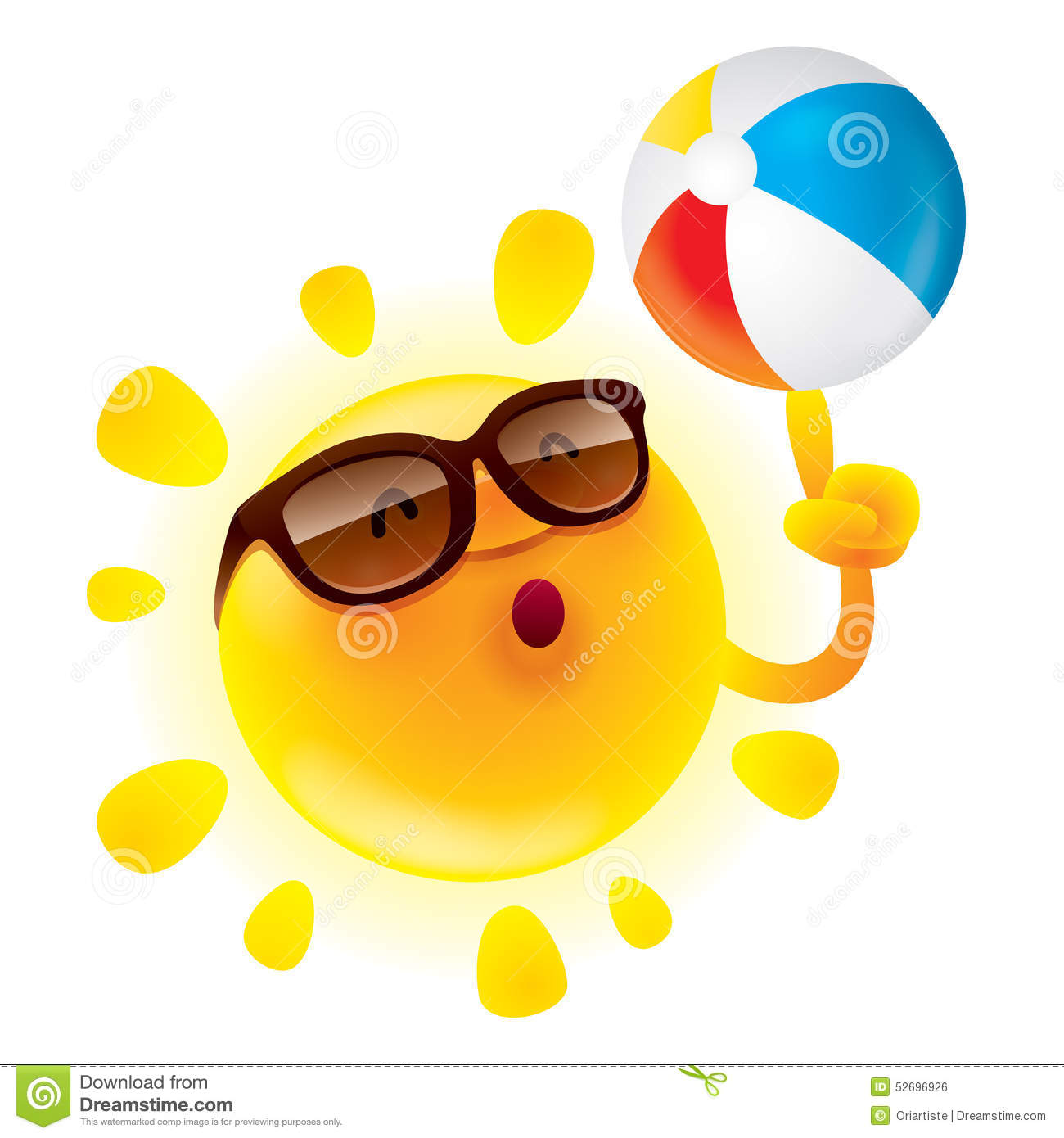 Summer Sun With Beach Ball Stock Vector Image Of Icon