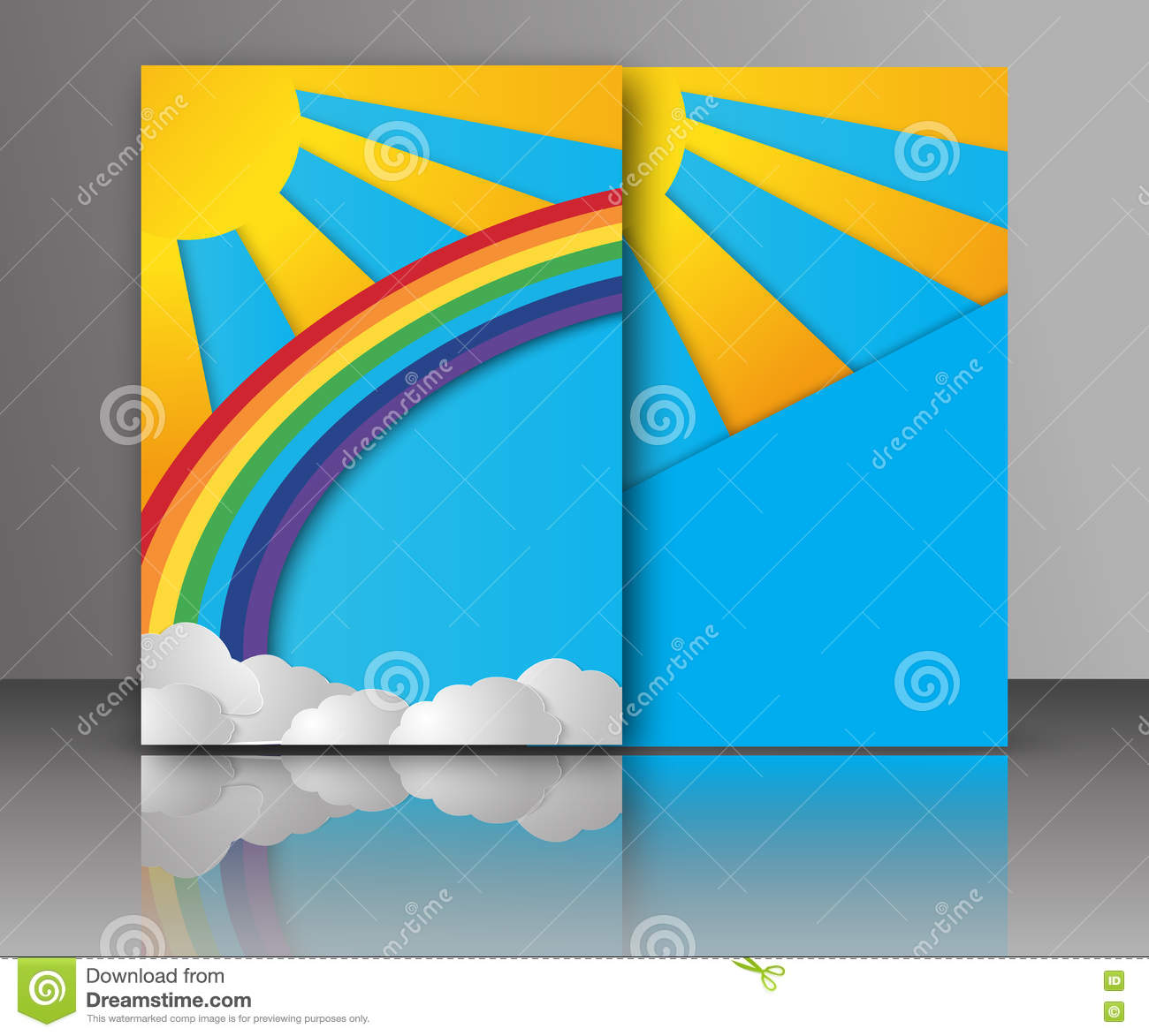 Summer sun with clouds and rainbow background. Paper cut style