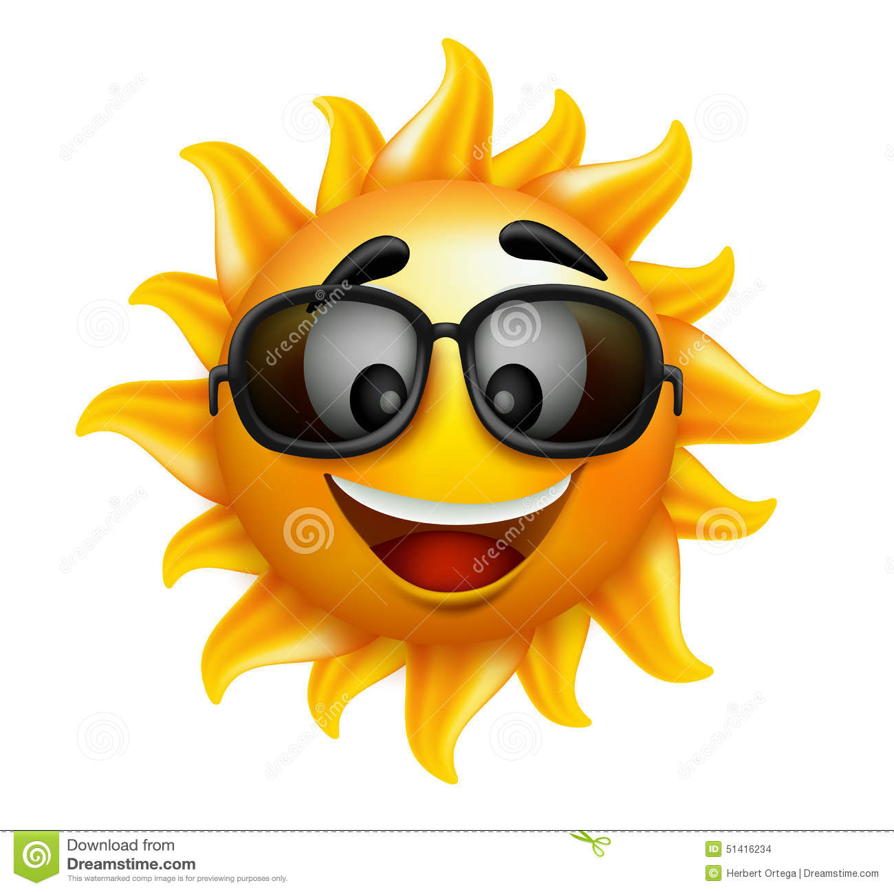 Summer Sun Face With Sunglasses And Happy Smile Stock