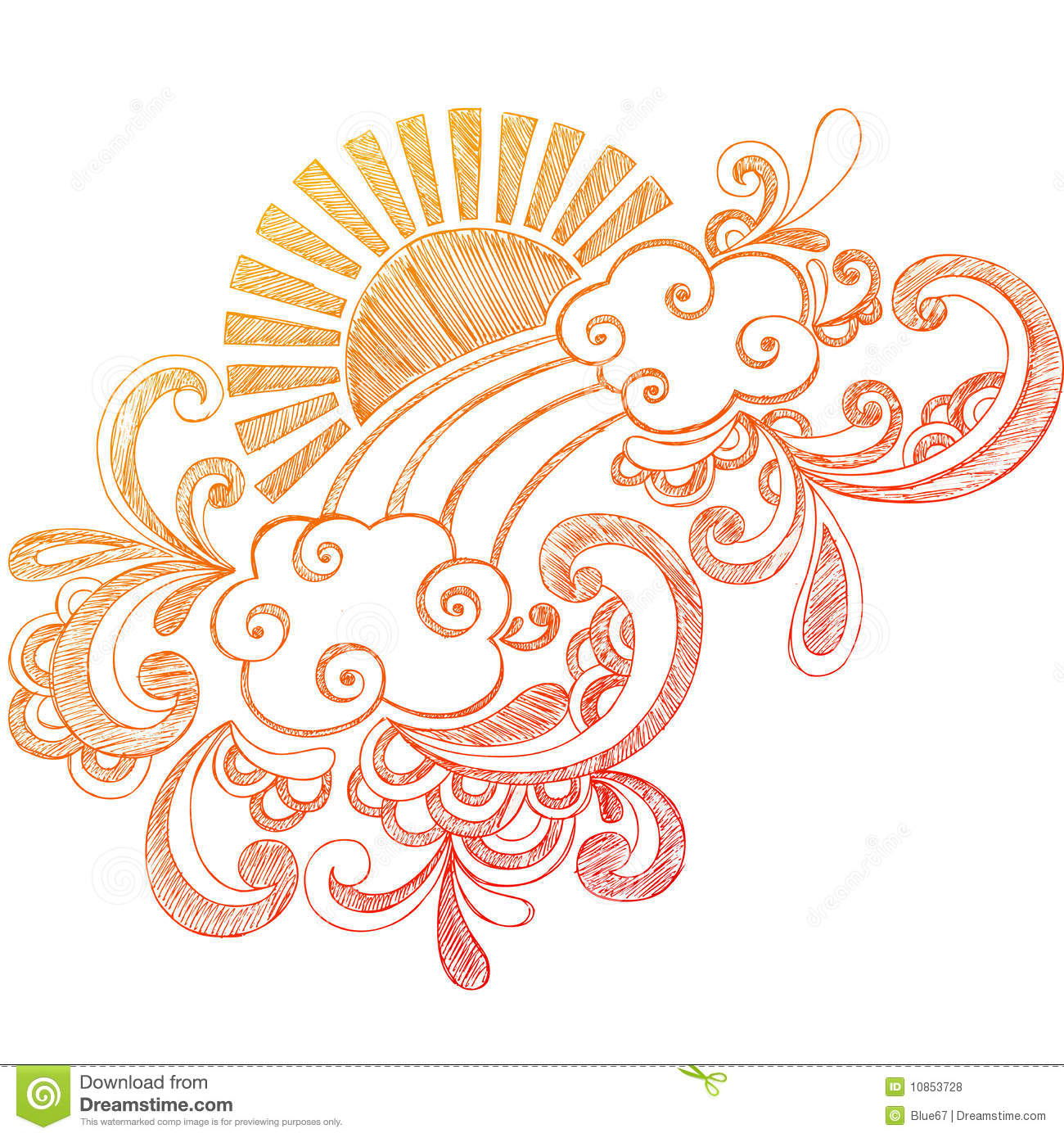 summer sun sketchy notebook doodle stock vector