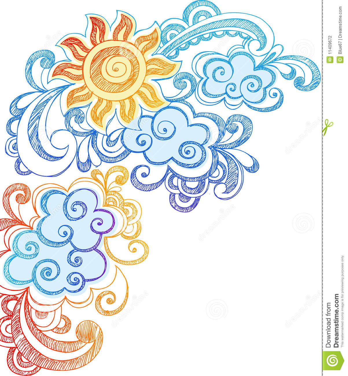 Summer Sun And Sky Sketchy Notebook Doodles Stock