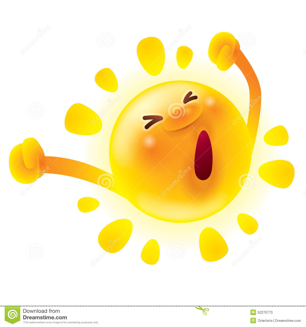 Summer Sun Stretching.Waking Up. Yawning. Stock Vector - Image ...