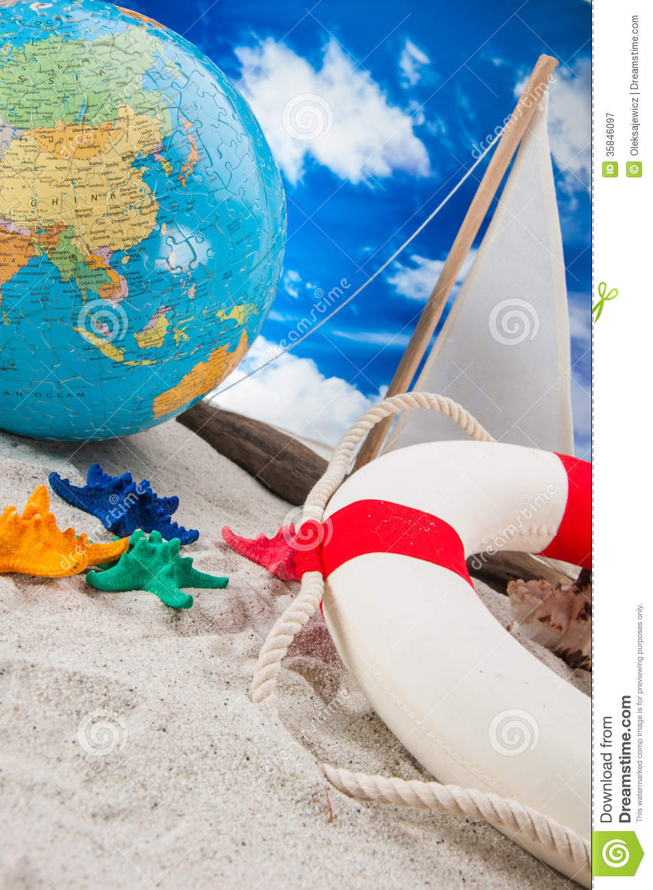 Summer holidays concept with beach summer composition