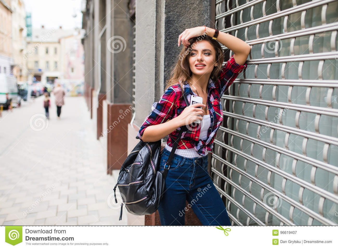 4d6cefaf163 Summer lifestyle fashion portrait of young stylish hipster woman walking on  street