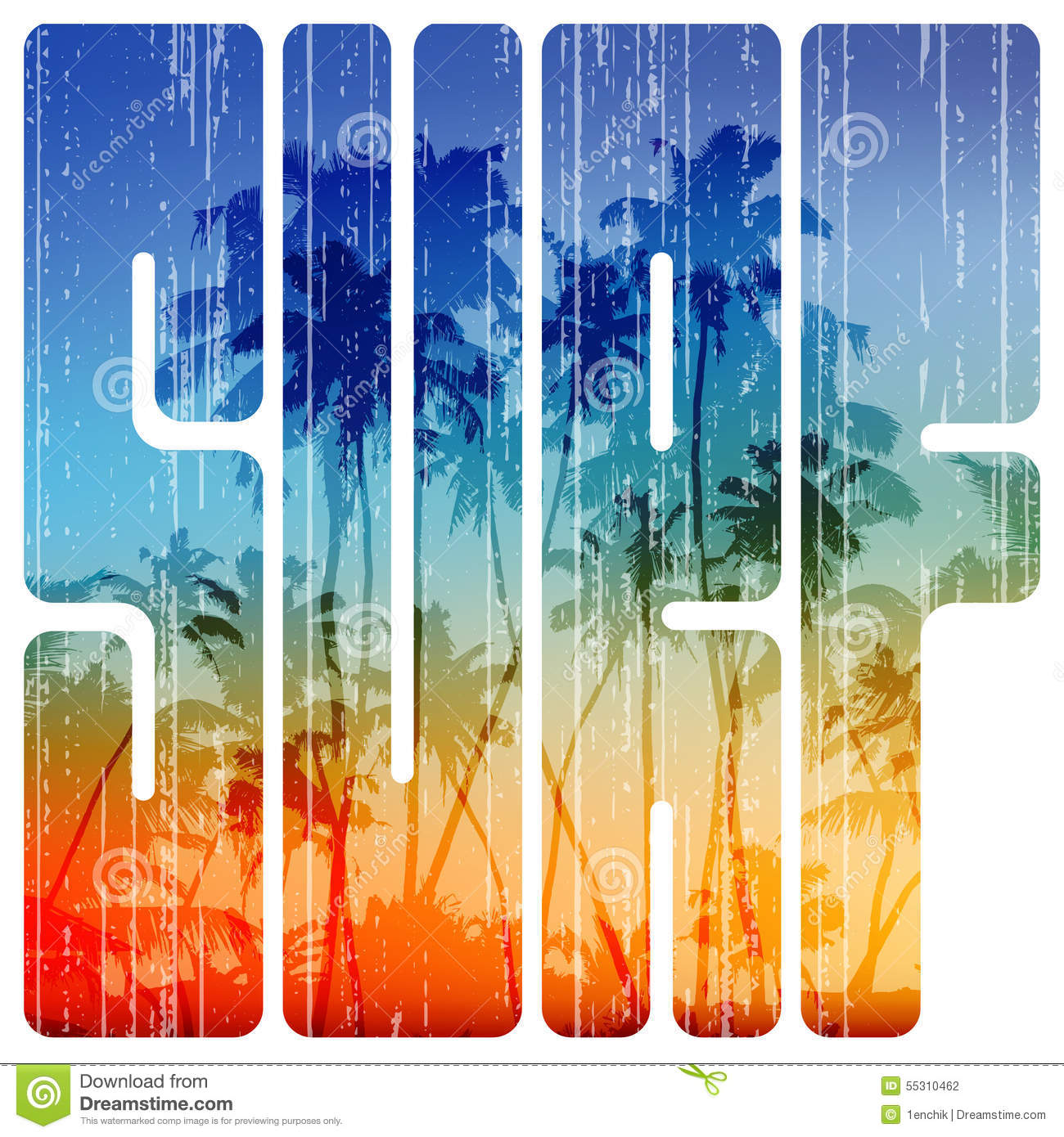 e649c54440 Royalty-Free Vector. Summer surf retro letters with beach view inside