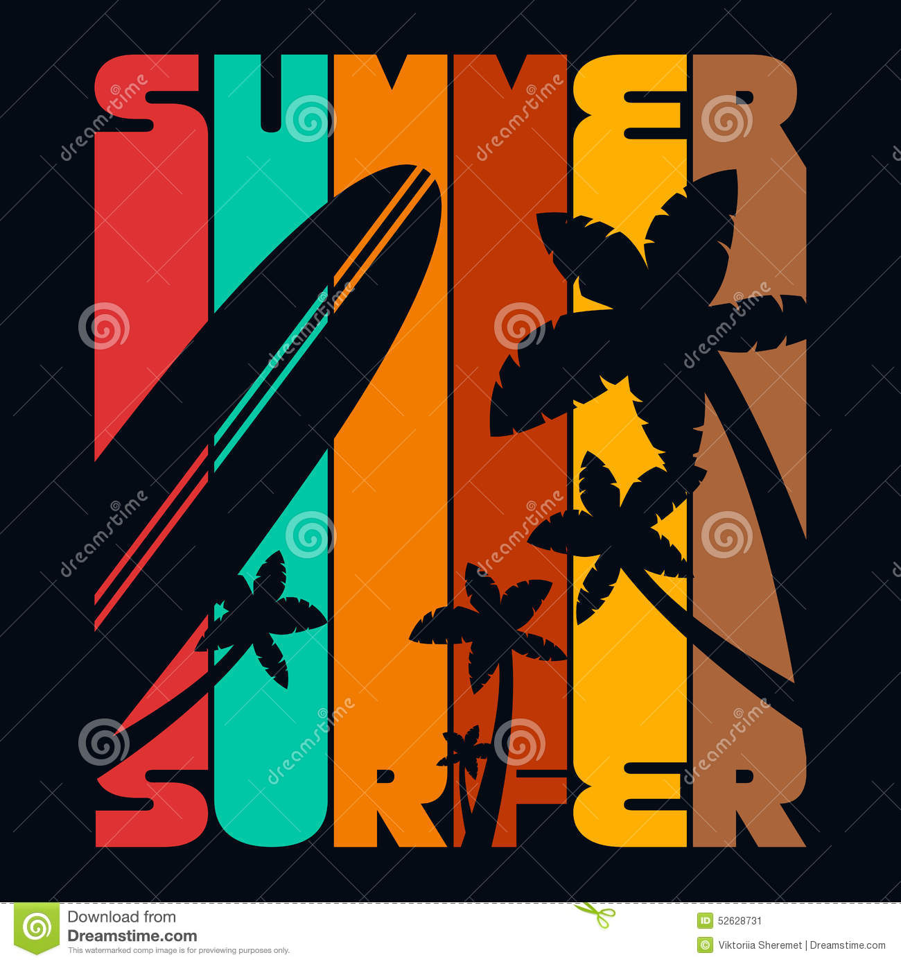 Summer Surfer T Shirt Typography Graphics Vector