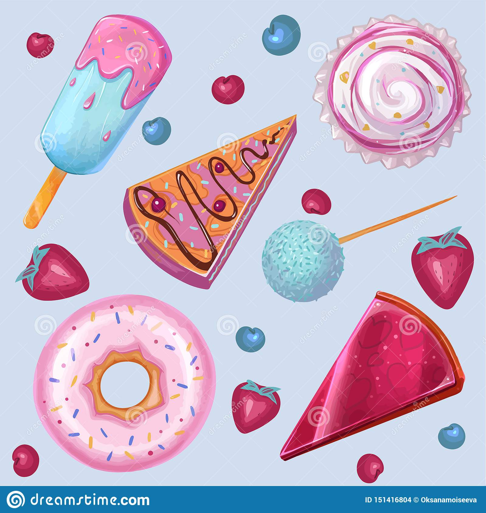 Summer, sweet food, Ice cream, donut. vector set