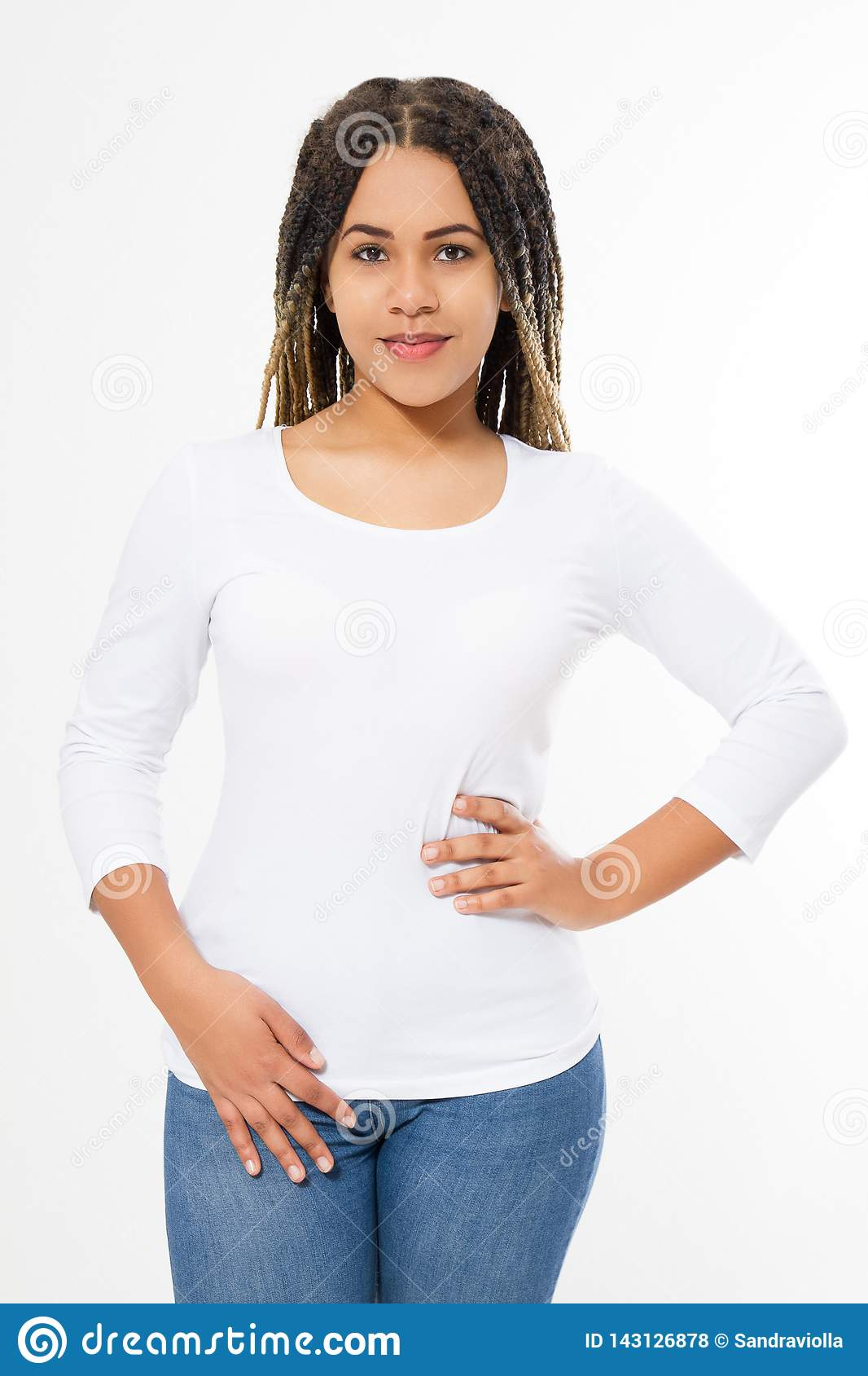 Summer t shirt design and people concept close up of young afro american woman in blank template white t-shirt. Mock up. Copy