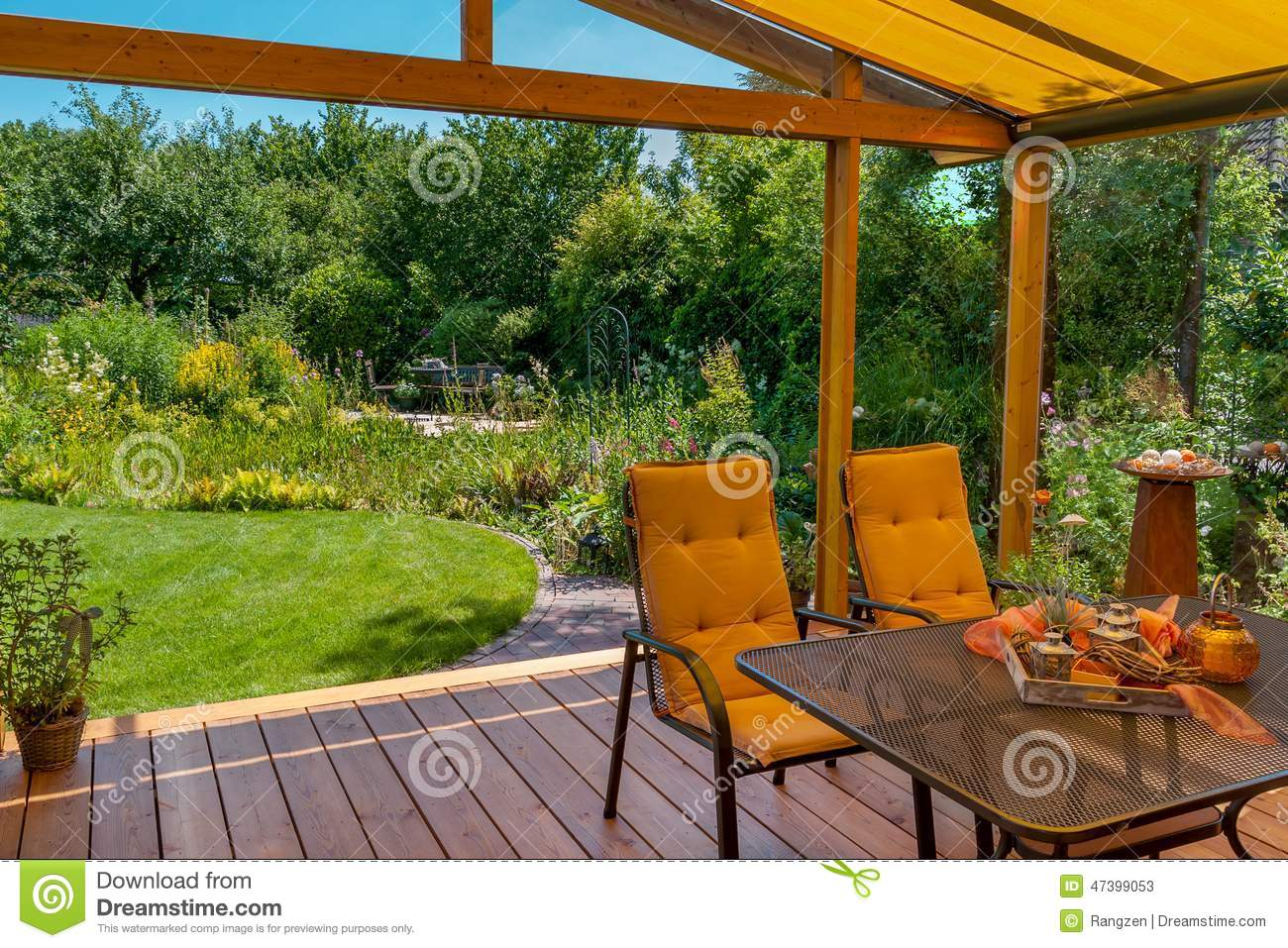 Summer terrace and garden stock photo image 47399053 for Terrace nature
