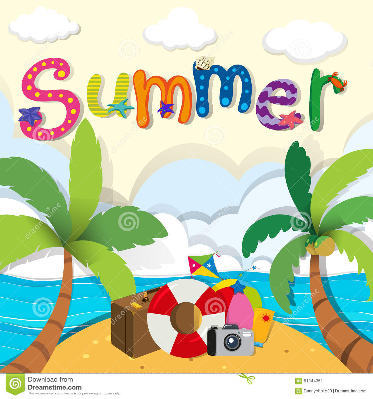 summer theme with beach objects stock vector image 61344351