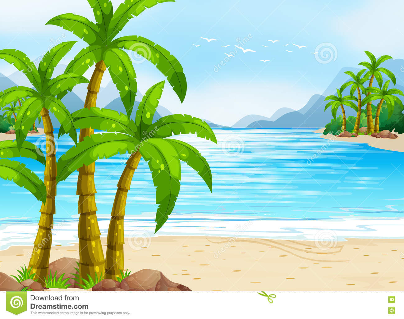 summer theme with beach and ocean stock vector image