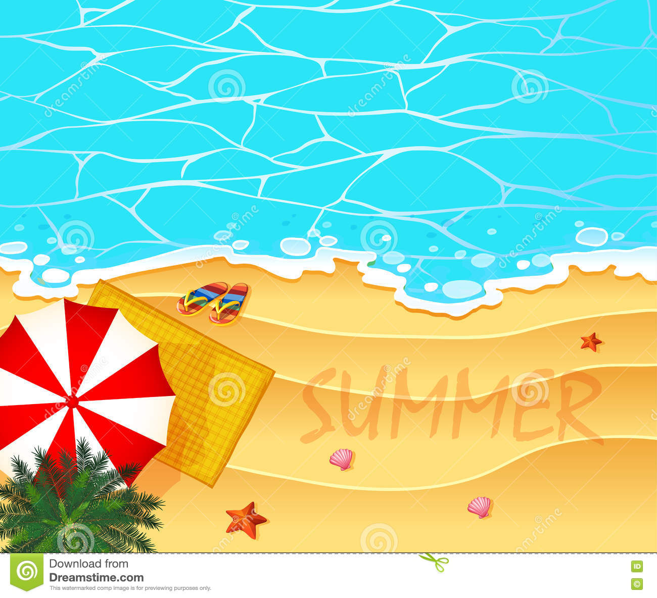 summer theme with ocean and beach background stock vector