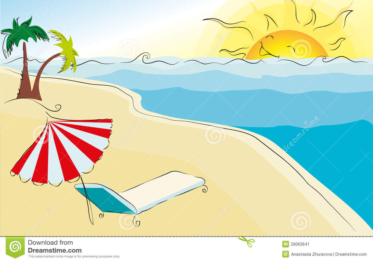 summer themed beach illustration stock illustration illustration