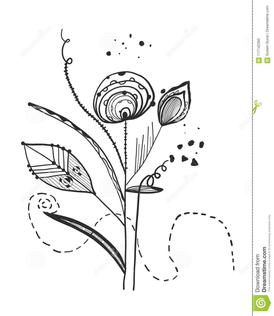 Summer time abstract black flowers. Abstract tattoo design vector floral design pattern