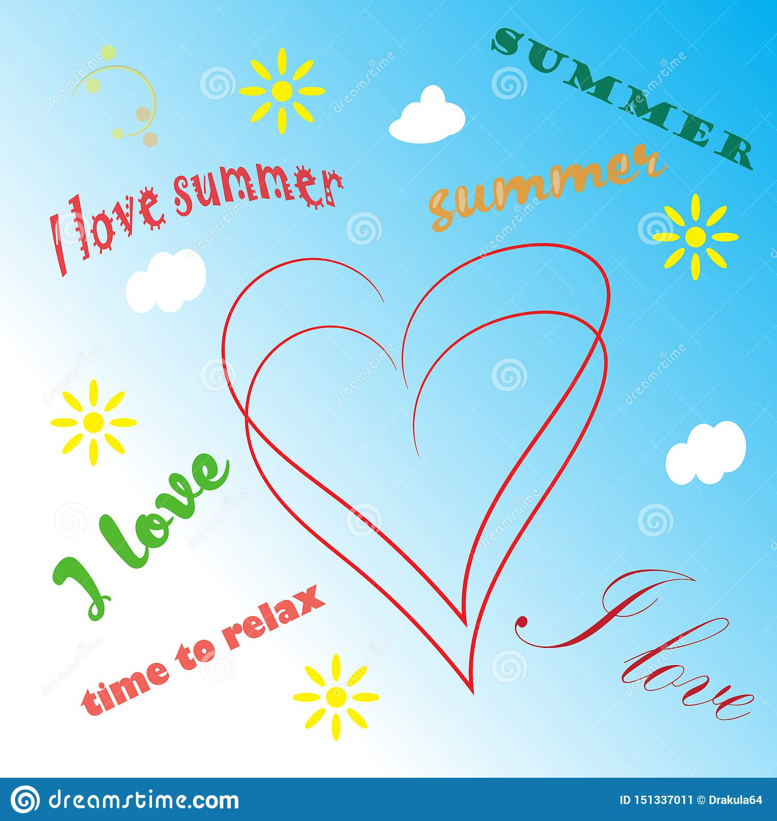 Summer time background with text illustration
