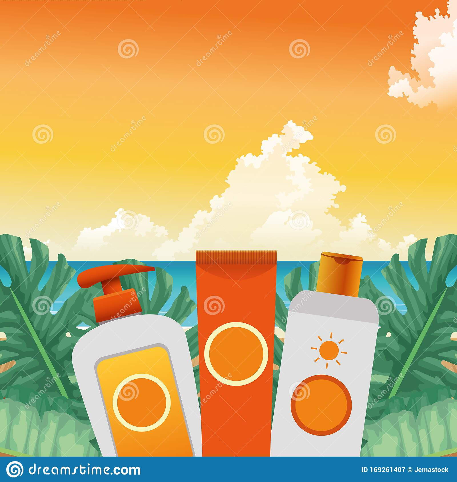 Summer Time In Beach Vacations Bottle Creams Skin Care Sun Blocks Foliage Tropic Stock Vector Illustration Of Banner Palm 169261407