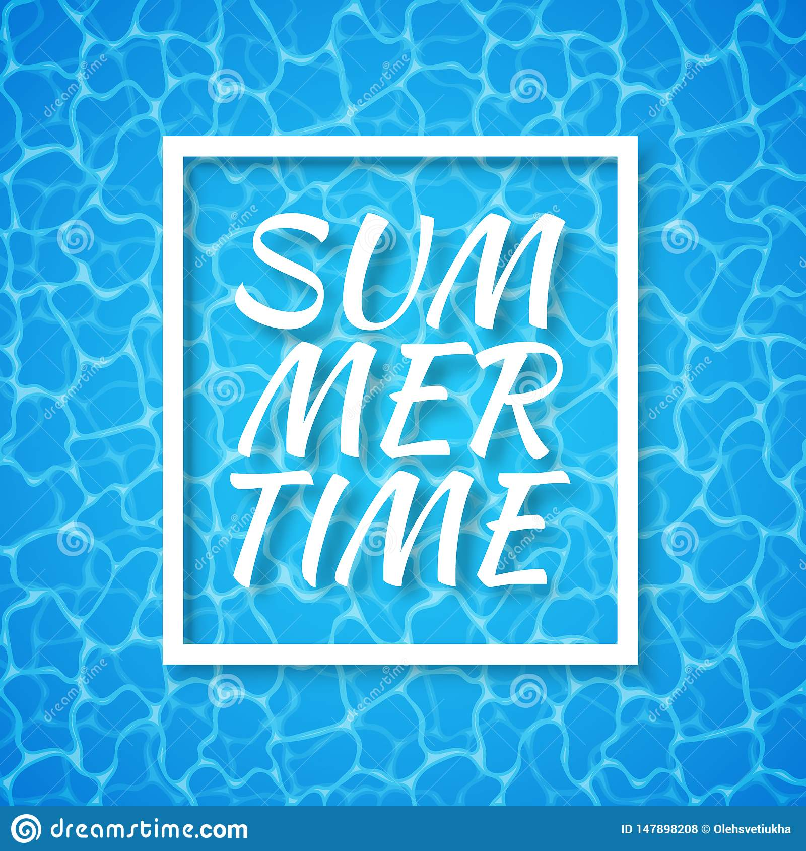 Summer time. Blue water background. Seamless blue ripples pattern. Water pool texture bottom background. Vector illustration