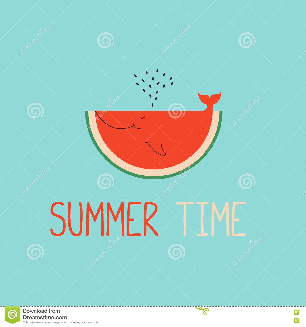 summer time greeting cards template with watermelon slice stock