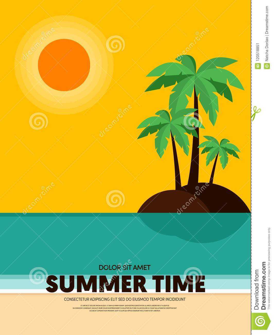 summer time and happy holiday poster template background stock
