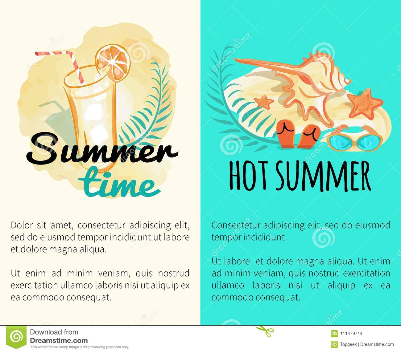 6dbc655681ac Summer Time Hot Vacation Posters With Attributes Stock Vector ...