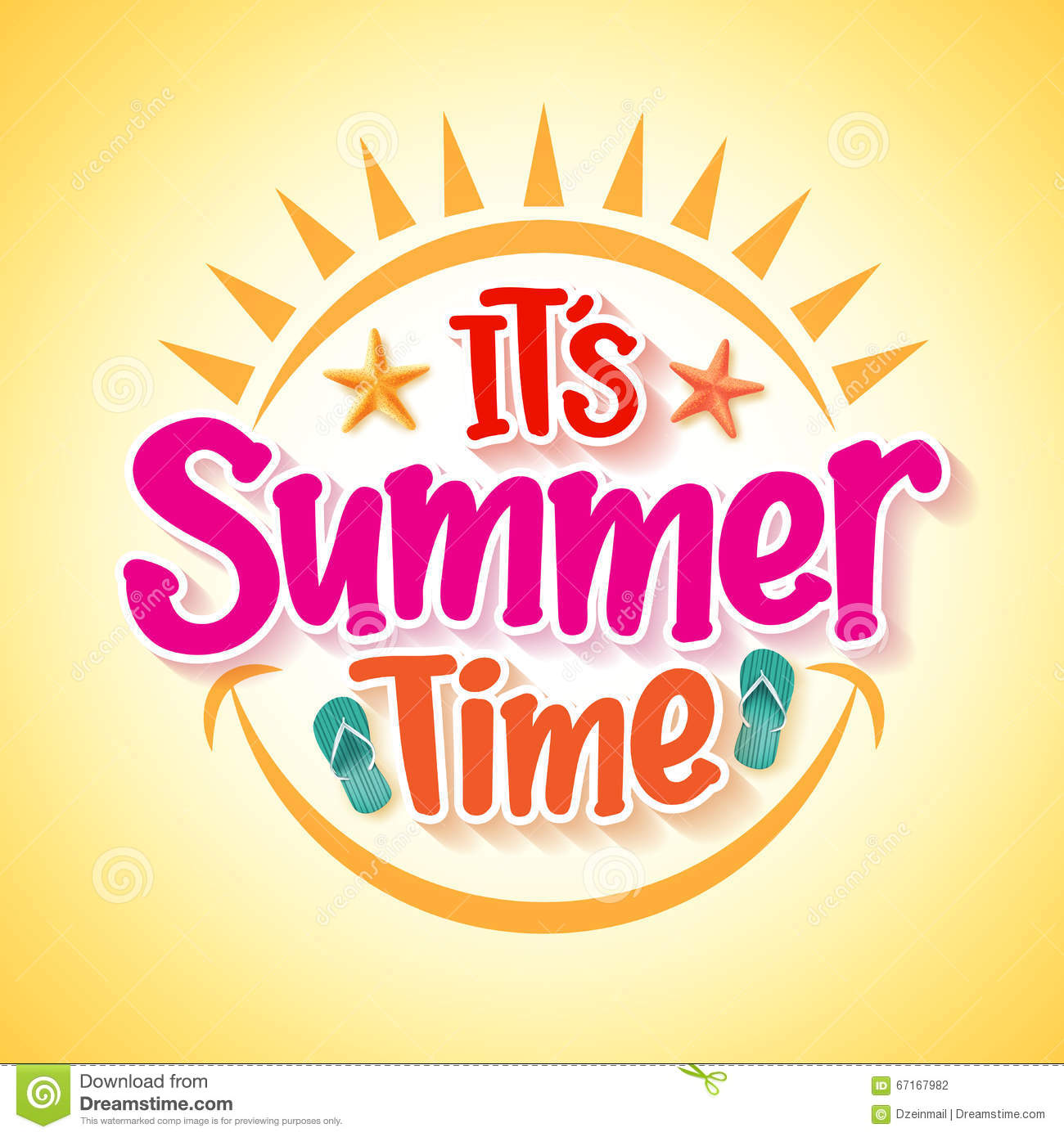 summer time poster design with happy and fun concept illustration