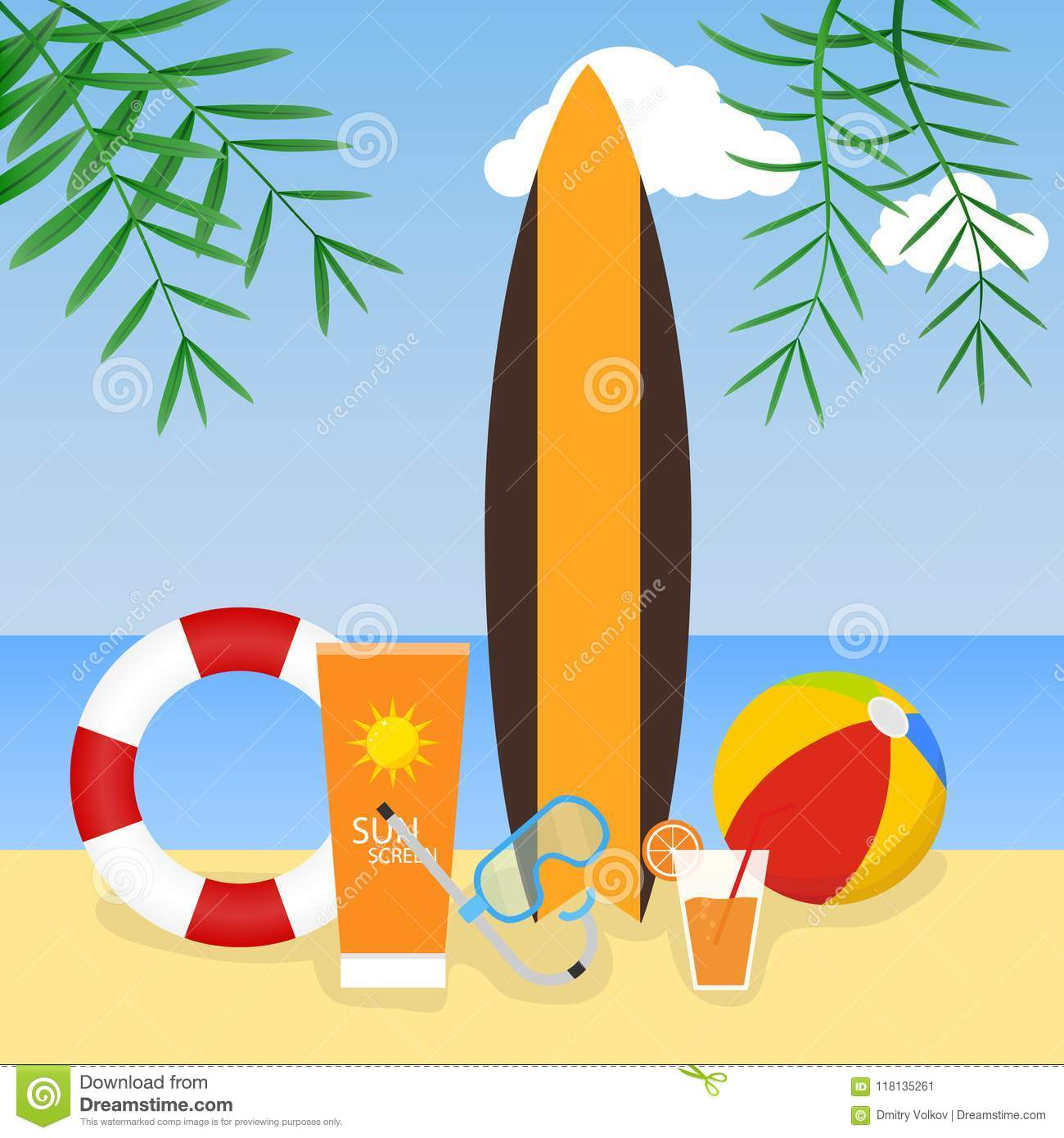 Summer Time. Surfboard, Life Ring, Beach Ball On The